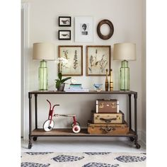 Industrial Console Table - Cottage - entrance/foyer - House & Home ❤ liked on Polyvore featuring home and interiors