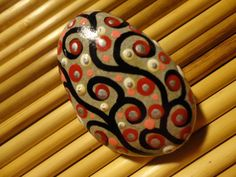 PAINTED BEACH STONE / Pebble Art /Hand Painted Stone/ Dot Painted Stone /Home Decor / Decorative Rock/ Abstract / Acrylic / Original