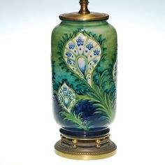 Moorcroft Peacock Feather Lamp