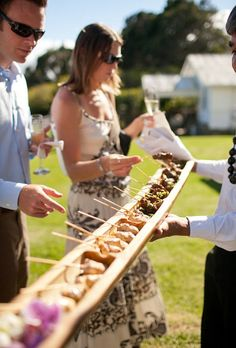 """Kebabs & Skewers; Mini food party bite size; 17 Hors d'oeuvre Ideas for the Best Cocktail Hour Ever; These creative appetizer ideas will make your wedding's cocktail hour the highlight of the night — except for that moment you said """"I do,"""" of course."""