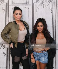 Snooki (R) and JWOWW pose for a photo at the BUILD Series at AOL HQ on September 14, 2016 in New York City.