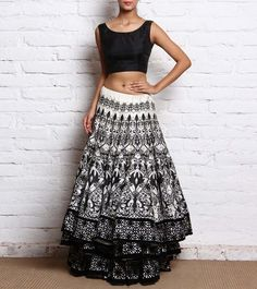 Black And White Silk Lehenga Set With Screen Printing And Laser Cutting