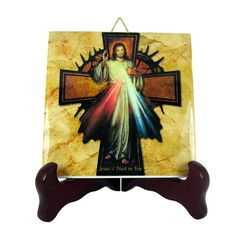 #Catholic gifts #Jesus Christ of Divine Mercy with #cross collectible ceramic tile religious gift idea http://etsy.me/2eARC9J