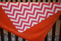 Hot Pink Chevron and Minky Blanket by DesignsbyChristyS on Etsy, $40.00