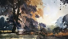 Artists in Wiltshire Tree Watercolor Painting, Watercolor Landscape Paintings, Watercolor Artists, Watercolor Portraits, Watercolor And Ink, Landscape Art, Artist Life, Cool Landscapes, Artwork