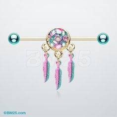 Golden Vibrant Dreamcatcher Industrial Barbell