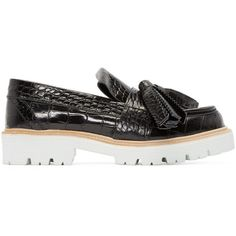 MSGM Black Croc-Embossed Tassle Loafers (43.345 RUB) ❤ liked on Polyvore featuring shoes, loafers, leather shoes, rubber sole shoes, black shoes, loafer shoes and crocs shoes