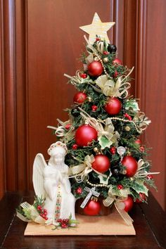 Christmas Tree Angel, Tabletop Christmas Tree, Alternative Christmas Tree, Miniature Christmas Trees, Christmas Wreaths, Christmas Decorations, Holiday Decor, Ceramic Angels, Red Ornaments