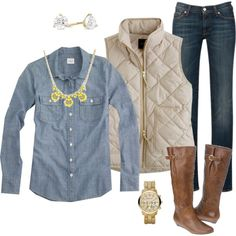 A fashion look from January 2013 featuring J.Crew tops, J.Crew vests and 7 For All Mankind jeans. Browse and shop related looks.