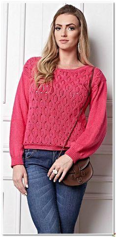 розовый пуловер крючком и спицами