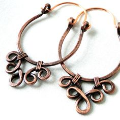 copper jewelry handmade | Handcrafted Hoop Earrings Antiqued Copper Jewelry by KariLuJewelry