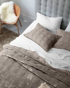 The luxuriously cozy, irresistibly plush touch of velvet, hand-quilted and backed in soft cotton sateen. Eileen Fisher Home exclusively by Garnet Hill.
