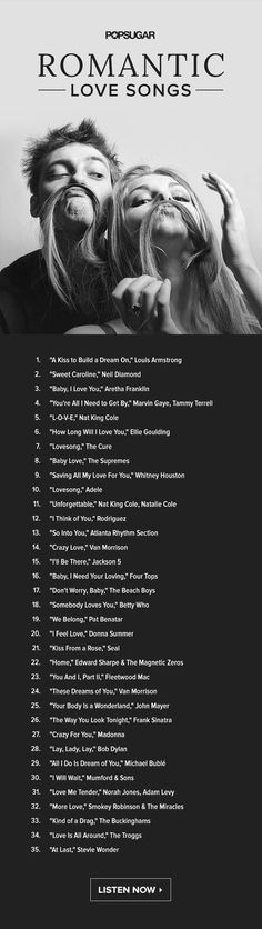 35 classic love songs perfect for Valentine's Day: listen to the playlist now! playlist 35 Romantic Love Songs Perfect For Valentine's Day Music Mood, Mood Songs, Musica Country, Romantic Love Song, Romantic Ideas, Romantic Music, Romantic Proposal, Romantic Dinners, Romantic Quotes