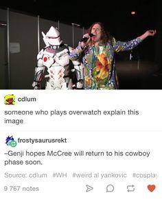 Overwatch Genji and McCree Tumblr post (origin: Weird Al Yankovic)