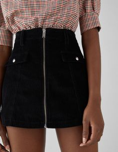 Corduroy skirt with zip - Skirts - Bershka United Kingdom Teen Fashion Outfits, Outfits For Teens, Girl Outfits, Cute Skirts, Short Skirts, Mode Purple, Jean Skirt Outfits, Jugend Mode Outfits, Trendy Swimwear
