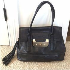 Diane Von Furstenberg black leather tassel bag DVF black with gold hardware leather tassel bag, worn a couple times. Like new condition Diane von Furstenberg Bags Totes