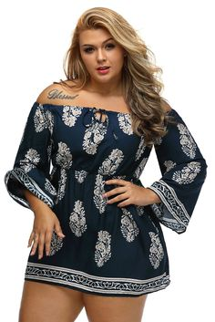 Plus Size Floral Print Bardot Neck Off-shoulder Dress https://www.modeshe.com