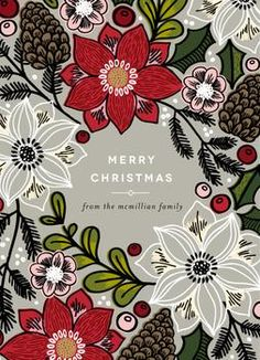 Poinsettias and Pinecones by Alethea and Ruth for Minted.