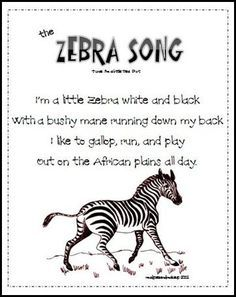 """Z-Zebra: Song- sing to tune of """"I'm a little tea cup"""""""