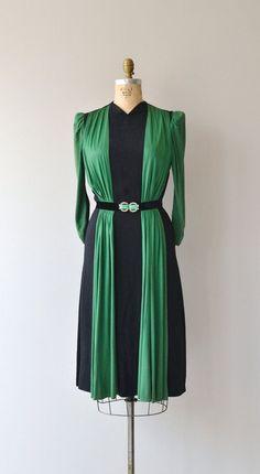 1930s dress | vintage 30s green + blue dress                                                                                                                                                                                 More