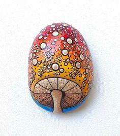 Dot mushroom painted rock