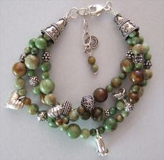 Handmade jewelry -Green African opal and amazing Bali and Thai silver beads. sacredearthjewelry.com