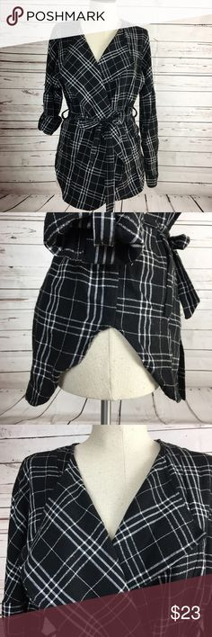 The Wrap Black and White Tied Wrap Wear the Sleeves Up or Down This Light Weight Over Coat is Super Cute and Sassy for either a errand filled day or the corporate catwalk Jackets & Coats Blazers
