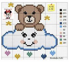 ~ Ursinho na nuvem ponto cruz Cross Stitch For Kids, Cute Cross Stitch, Cross Stitch Animals, Cross Stitch Designs, Cross Stitch Patterns, Afghan Crochet Patterns, Loom Patterns, Cross Stitching, Cross Stitch Embroidery