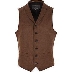 Brown, shawl collar, wool waistcoat by River Island