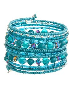 Look what I found on #zulily! Teal & Silver Beaded Coil Bracelet by Kada Jewelry #zulilyfinds
