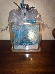 Blue Christmas Tree lighted glass block. $25 Blue Christmas, Christmas Tree, Lighted Glass Blocks, Tree Lighting, Craft Sale, Home Crafts, Snow Globes, Container, Create
