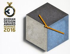 GERMAN DESIGN AWARD Nominee 2016!  The 3D-looking clock made of concrete with the name cubeclock obtained by shape and color of the three sections of the visual effect of a three-dimensional cube. The three elements are made in colored concrete and have the real and typical concrete-look. The poking of the subareas are located on 2, 6 and 10 clock, so that the time can be easily read with this orientation. The concrete product has been self-evident handcrafted and has through the pore and…
