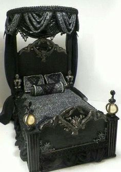 Looks like a fun doll house bed.how about a fun gothic doll house for Halloween? I'd leave it up all year. Haunted Dollhouse, Haunted Dolls, Dollhouse Miniatures, Gothic Interior, Gothic Home Decor, Victorian Gothic Decor, Victorian Bed, Interior Office, Modern Interior