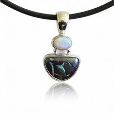 f8492120fef0de Matrix boulder & Solid White Opal Pendant set in 100% Sterling Silver.  Shows Dazzling