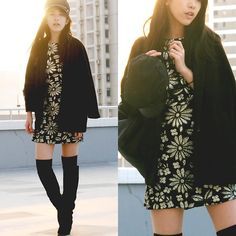 zoe suen- thigh high boots, dress, coat