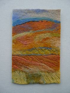 Felt, machine and hand stitch  by Fiona Rainford Felt Wall Hanging, Felt Fabric, Fabric Art, Felt Pictures, Fibre And Fabric, Nuno Felting, Needle Felting, Felting Tutorials, Handmade Felt
