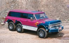 a 67-72 era Chevy Blazer with the dual rear-axle treatment. Don't love the color, but everything else looks spot on!