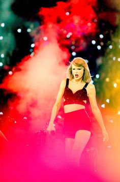 Seriously, though, how fierce is this picture of Taylor Swift strutting across the stage during her 1989 tour?