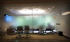 Conference room with frosted glass writing wall