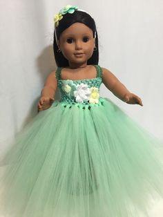 """Beautiful Mint Green tutu dress American Girl Doll clothes fits all 18"""" dolls"""