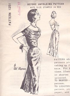 1950s Stunning Evening Dress Pattern Spadea by OneMoreCupOfTea