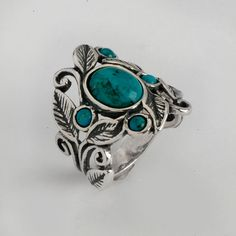 Unique 925 Sterling Silver Turqouise Ring Size 5, 6, 7, 8, 9, 10