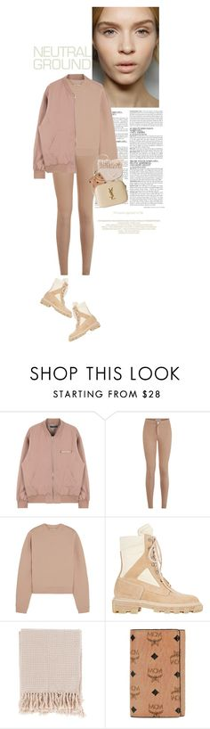 """""""nude uni"""" by rosa-loves-skittles ❤ liked on Polyvore featuring McGinn, Acne Studios, Balenciaga, Surya, MCM, Yves Saint Laurent, YSL, rose, beige and nude"""