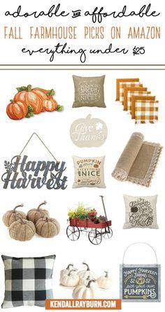 Adorable and Affordable Farmhouse Fall Decor on Amazon. #affiliate