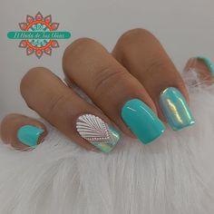 Mint Green Nails, Mint Nails, Beautiful Nail Designs, Beautiful Nail Art, Cute Acrylic Nails, Acrylic Art, Nail Studio, Nail Decorations, Nail Arts