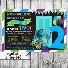 Monsters Inc Invitation Monsters Inc by AGMPrintableDesigns