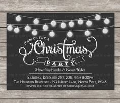 Any Color - Christmas Party Invitation - Glitter Bulbs / Baubles  - Personalized Digital Custom Invite 4x6 or 5x7 jpg or pdf