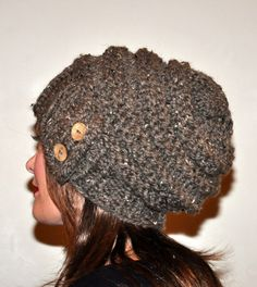 Slouch Beanie Slouchy Hat 100 WOOL Button Hand Knit by lucymir 97f8ad7e45db