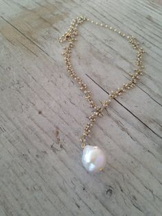 Camille Pearl Drop Necklace by layerbar on Etsy