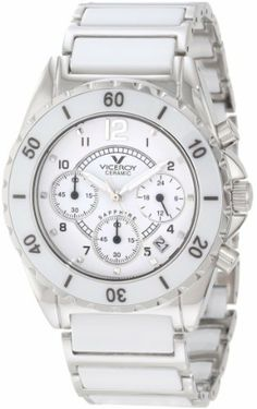 Viceroy Women's 47550-05 White Ceramic Cronograph Date Watch Viceroy. $380.29. Water resistance up to 165 feet (50m). Date window; hour display; second hand feature. White ceramic and stainless steel bracelet. Stainless steel case with white ceramic bezel. Chronograph